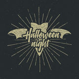 Halloween party night label template with bat, sun bursts and typography elements on dark background. text with retro Royalty Free Stock Photos