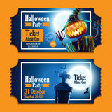 Halloween party night pumpkin ticket Royalty Free Stock Photography