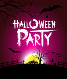 Halloween party at night purple background Stock Photos