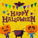 Halloween party orange background. Man with a pumpkin head vector flat illustration. flat bat and festive ribbon. Funny halloween. Flat bat and festive ribbon Stock Photo