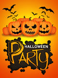 Halloween Party Orange Pumpkins Card Royalty Free Stock Photo