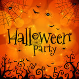 Halloween party orange vector greeting card Royalty Free Stock Photography
