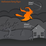 Halloween Party Paper Flyer Stock Images