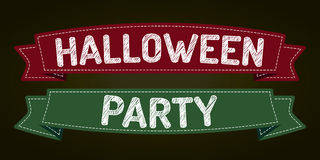 Halloween Party. Halloween - pen style text on colorized ribbons Stock Photos