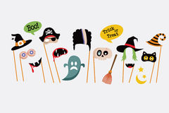 Halloween party photo booth collection Royalty Free Stock Photos