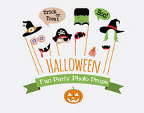Halloween party photo booth collection. Holiday illustration Royalty Free Stock Photos