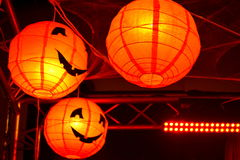 Halloween party picturesque pumpkin lanterns Royalty Free Stock Photos