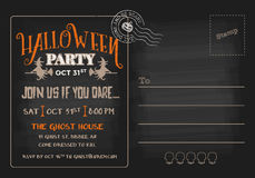 Halloween Party Postcard Invitation Template. Stock Photo