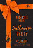Halloween party poster with black gift box Stock Photography