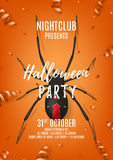 Halloween party poster with black spider Stock Photography