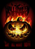Halloween party poster design concept with burning angry pumpkin, fire flame. Copy space for text Royalty Free Stock Photos