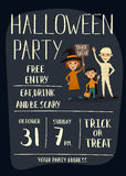 Halloween party poster design with kids. Halloween night party poster with funny kids in carnival costumes mummy, vampire and witch with sign - Trick or Treat Royalty Free Stock Images