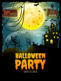Halloween party poster. EPS 10. Halloween party poster. Hunted house on spooky graveyard. EPS 10 vector file included Royalty Free Stock Images