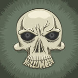 Halloween party poster with evil skull Royalty Free Stock Image