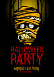 Halloween party poster with the face of the mummy. Stock Photo