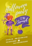 Halloween party poster green Royalty Free Stock Images