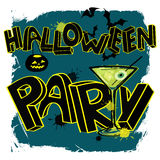 Halloween party poster with hand lettering Stock Images