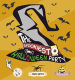 Halloween party poster. Horrible wizard's hat. Vector illustration. Stock Photography