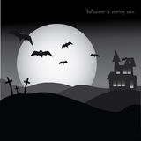 Halloween party poster, horror, night, bats and cemetery Stock Images