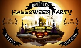 Halloween party poster illustration with pumpkins and house in warm moonlight. Halloween party poster illustration with pumpkins and house in warm moonlight Royalty Free Stock Image