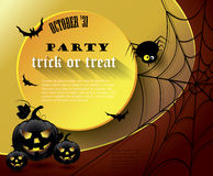 Halloween party poster with message. Vector illustration Royalty Free Stock Photo