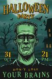 Halloween party poster with monster. Zombie, house, tree and bats royalty free illustration