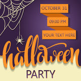 Halloween party poster. Placard for a party on All Saints Day. Lettering Halloween Stock Photo