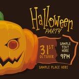 Halloween Party Poster with Pumpkin Stock Photos