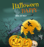 Halloween Party poster with pumpkin lanterns Stock Images