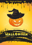 Halloween party poster pumpkin witch monster trick or treat Stock Photos