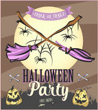 Halloween Party poster with pumpkins and moon with brooms. Vector illustration. Stock Photos