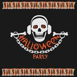 Halloween party poster with a skull stock images