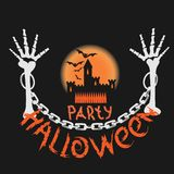 Halloween party poster with a skull royalty free stock photography