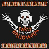 Halloween party poster with a skull royalty free stock photo