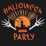 Halloween party poster with a skull royalty free stock photos