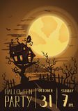 Halloween party poster with spooky castle Stock Photography