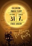 Halloween party poster with spooky castle Stock Image