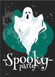 Halloween Party poster with spooky ghost Royalty Free Stock Images