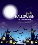 Halloween party poster. Vector Halloween party poster with creepy city, pumpkin and cemetery. Perfect for greeting card, flyer, banner, poster templates and Royalty Free Stock Photos