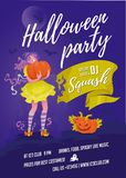 Halloween party poster violet Royalty Free Stock Photos