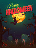 Halloween party poster with witch and moon. Vector Royalty Free Stock Images