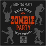 Halloween party poster with zombie head - vector illustration Stock Images