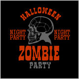 Halloween party poster with zombie head - vector illustration Royalty Free Stock Photography
