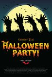 Halloween party poster with zombie s hand. Stock Photography