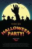 Halloween party poster with zombie s hand. Stock Images