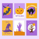 Halloween party posters and invitation cards with cartoon scary signs and characters Royalty Free Stock Photos