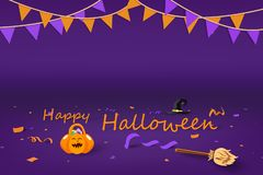 Halloween party, pumpkin, bloom, hat witch, confetti and ribbons decoration on the floor, celebration seasonal holiday background royalty free illustration