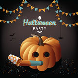Halloween party pumpkin and blower. EPS 10 vector stock illustration