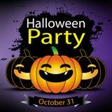 Halloween party pumpkin greeting card. Halloween party pumpkin october 31 greeting card Stock Image