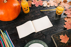 Halloween party recipe note Stock Photos